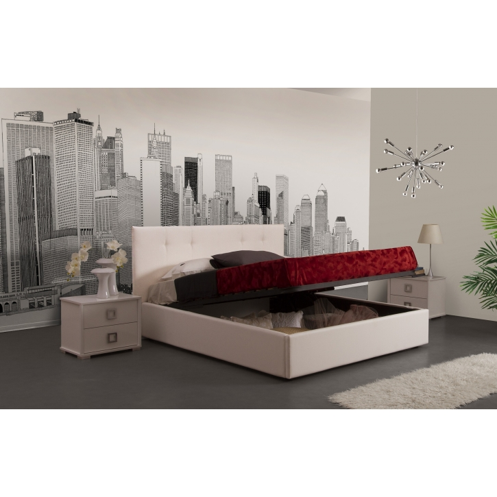 stauraumbett polsterbett plaza 160x200 cm in weiss pl 160 st. Black Bedroom Furniture Sets. Home Design Ideas