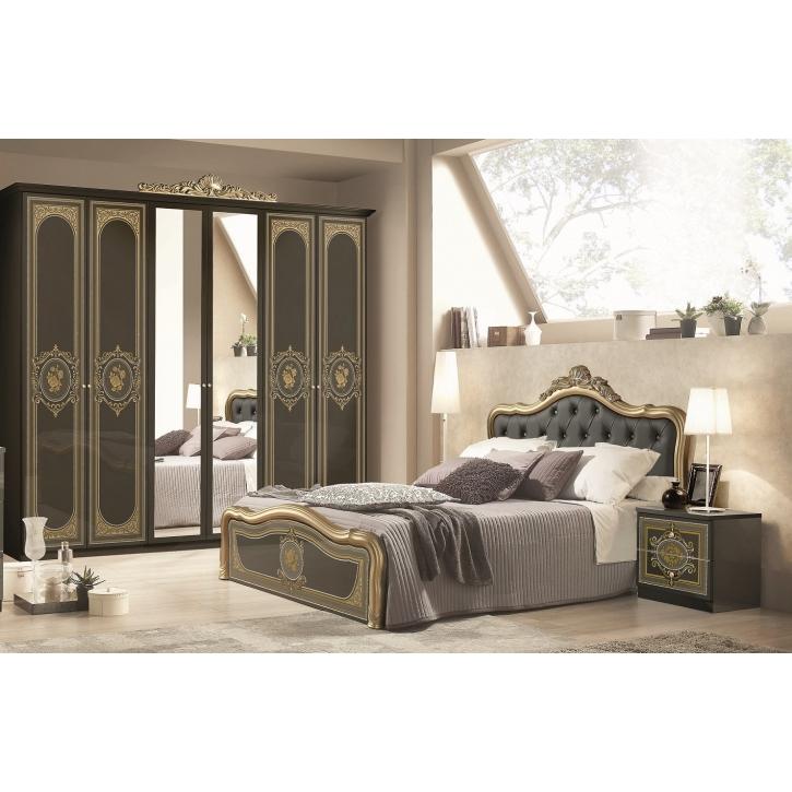 Schlafzimmer Alice 6-teilig in schwarz Gold Barock ohne Polsterung
