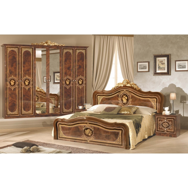 Schlafzimmer Alice 6-teilig in Walnuss Gold ohne Polsterung