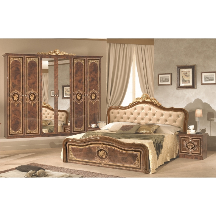 Schlafzimmer Alice in Walnuss Gold Polsterung 180x200cm 4tlg