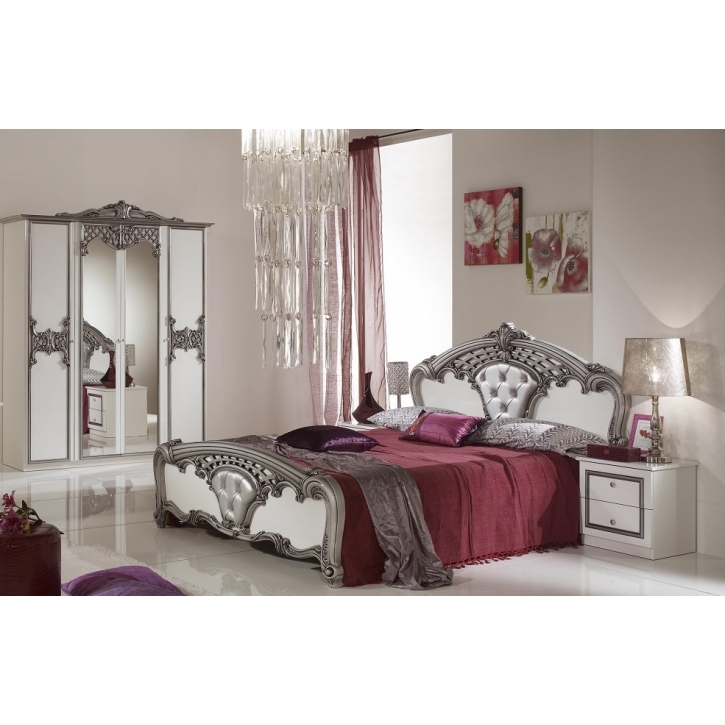 schlafzimmer elisa weiss silber luxus italienische. Black Bedroom Furniture Sets. Home Design Ideas