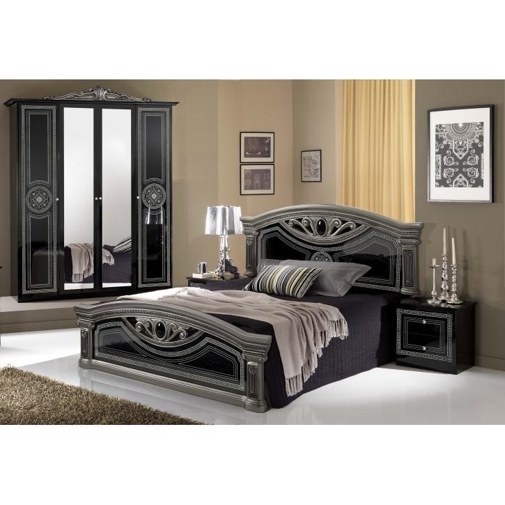 Schlafzimmer Giulia in schwarz silber Klassik Barock 4tlg