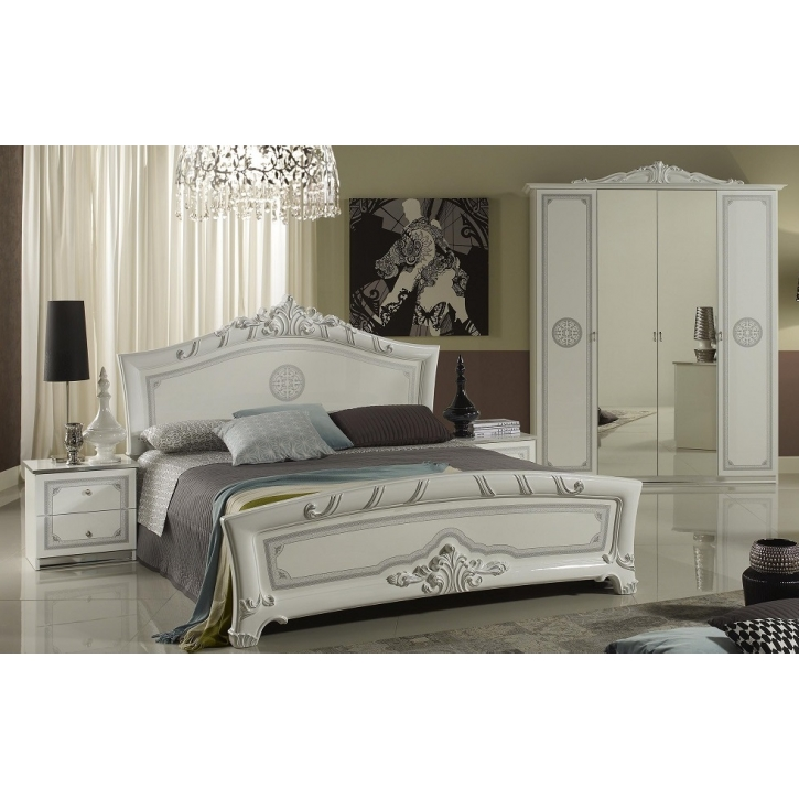 schlafzimmer great in weiss silber klassische design 4tlg. Black Bedroom Furniture Sets. Home Design Ideas
