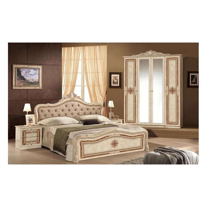 Schlafzimmer in beige Lucy mit Krone 180x200 cm Klassik 4tlg
