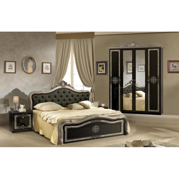 Schlafzimmer Lucy in schwarz Silber klassisch Designer Luxus4tlg