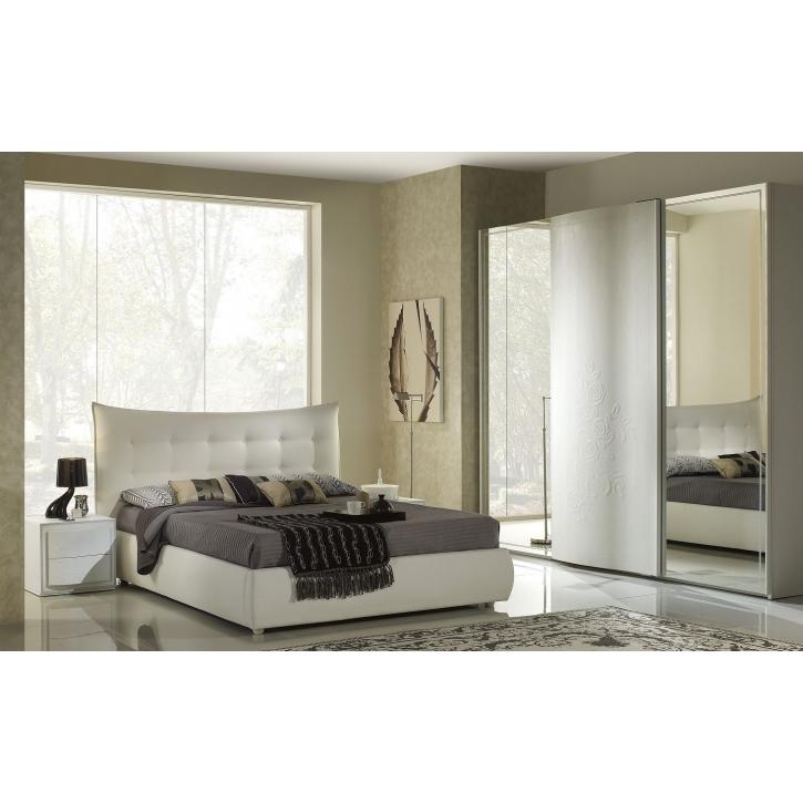 Schlafzimmer Chana 160x 200cm Stauraum weiss creme 4tlg