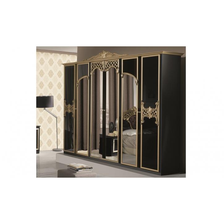 Kleiderschrank 6-türig Elisa schwarz gold klassische Möbel