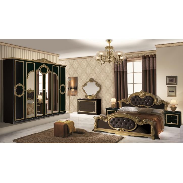 Schlafzimmer Set Barocco 7-teilig in Schwarz Gold