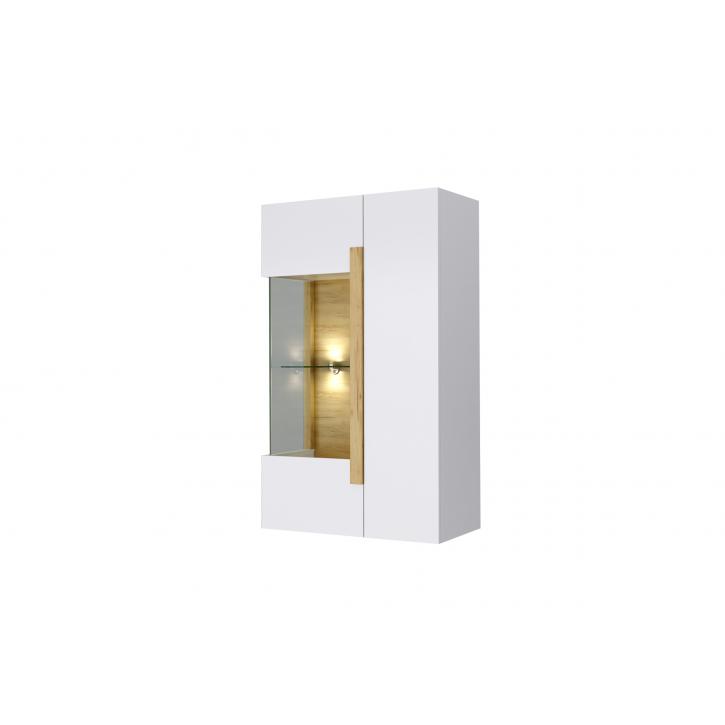 Vitrinenschrank Sidney in weiss mit Hoolzoptik LED