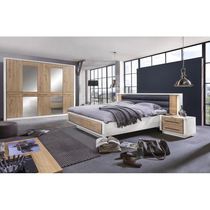 Schlafzimmer Elba Asteiche Bianco / Pinie weiß, teilmassiv