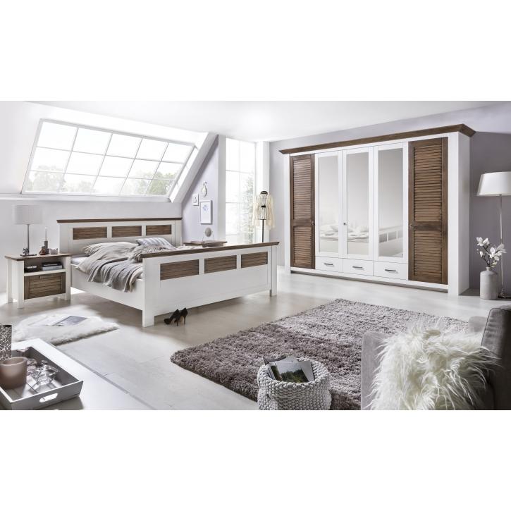 Schlafzimmer Laguna Pinie teilmassiv weiß Abs. 160x200 cm