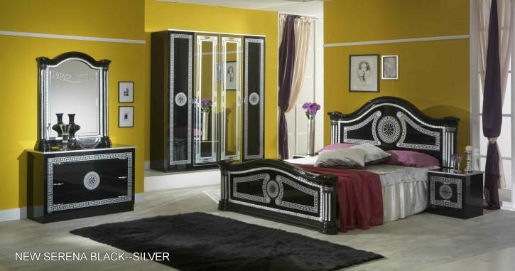 Schlafzimmer Set Serena 6-teilig in Schwarz Silber