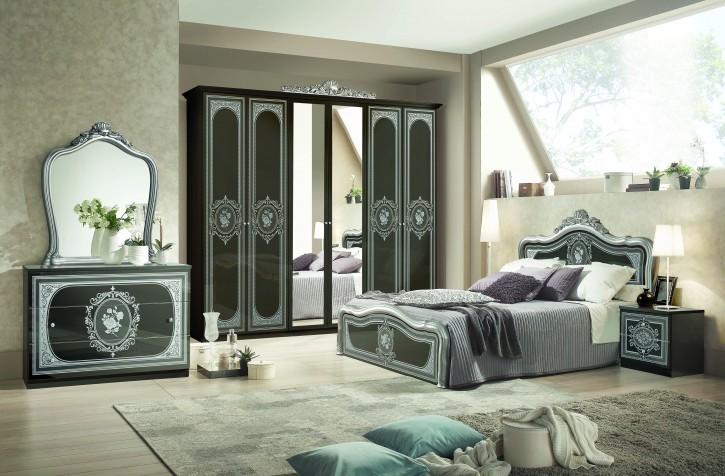Schlafzimmer Alice 6 teilig in schwarz Silber Barock ohne Polsterung