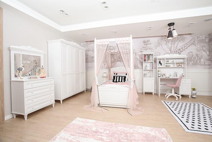 Kinderzimmer Set Lora in Weiss mit Himmelbett