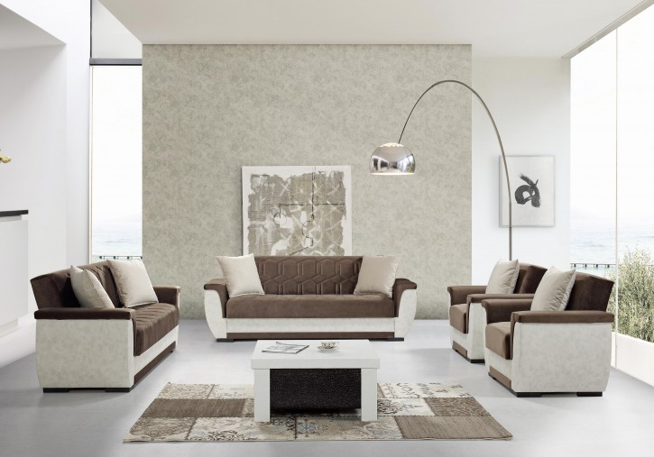 Sofa Couch Set Acelya 3+2+1 in Beige Braun mit Schlaffunktion