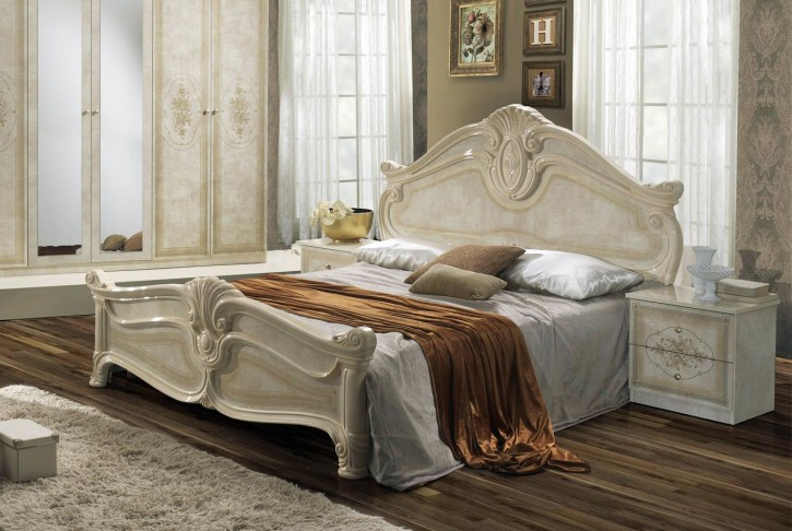 Bett in 180x200 cm Amalia in beige klassik italienisch