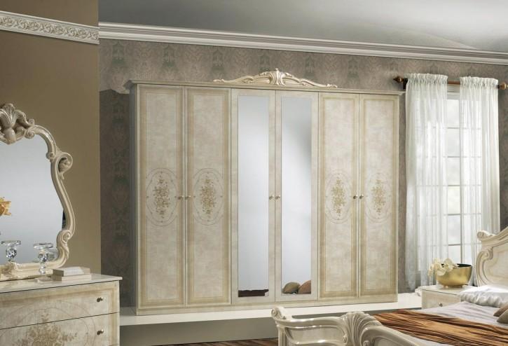 Kleiderschrank 6 trg Amalia in beige klassik italienisch