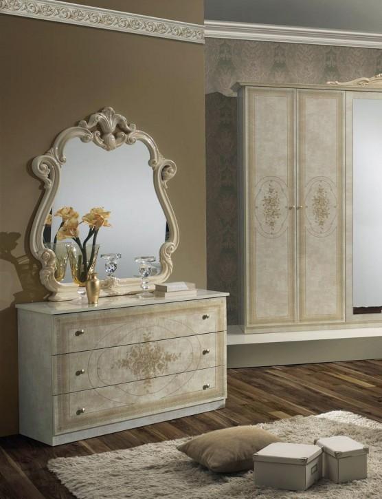 Wäschekommode mit Spiegel Amalia in beige klassik italienisch