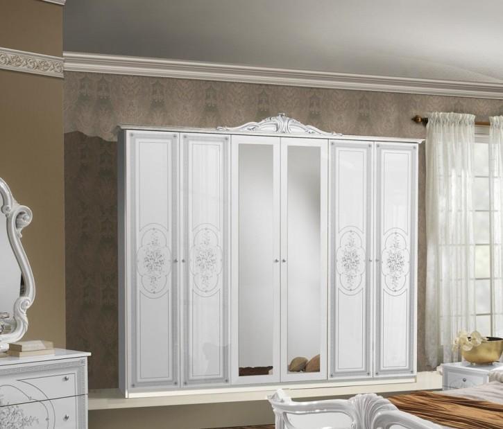 Kleiderschrank 6 trg Amalia in Weiß Klassisch Design