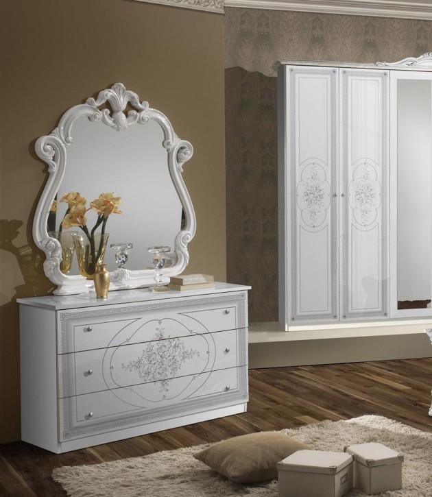 Wäschekommode mit Spiegel Amalia in Weiß klassik italienisch