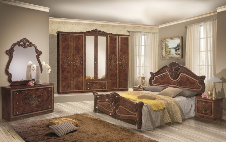 Schlafzimmer Amalia in Walnuss klassik italienisch Barock