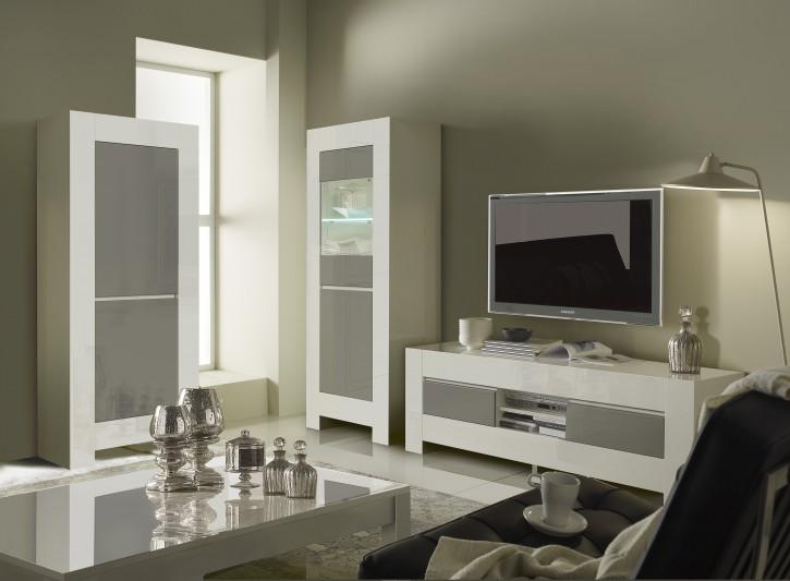 TV-Unterschrank Lunna Vitrine 3 tlg Wohnzimmerset grau weiss modern