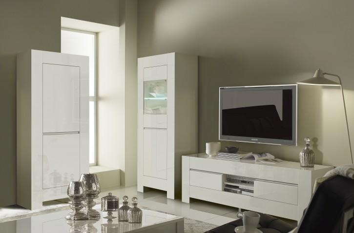 Vitrine Lunna TV-Unterschrank 3 tlg Wohnzimmerset weiss modern