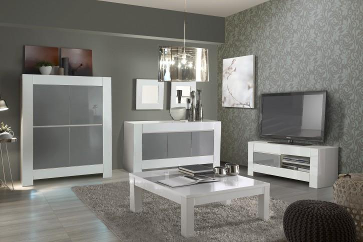 Wohnzimmerset 4tlg Lunna weiss grau hochglanz Schrank Tisch Highboard