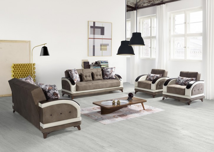Sofa Couch Set Asos 3+2+1 in Braun mit Schlaffunktion