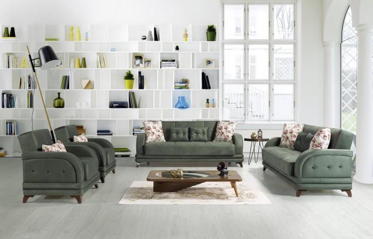 Sofa Couch Set Asya 3+2+1 in Grün mit Schlaffunktion