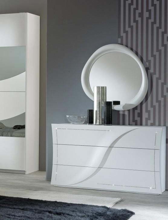 Kommode mit Spiegel Mabel in Weiß Modern