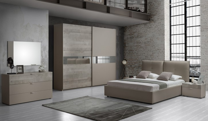 Schlafzimmer Agata modern in grau buche Set