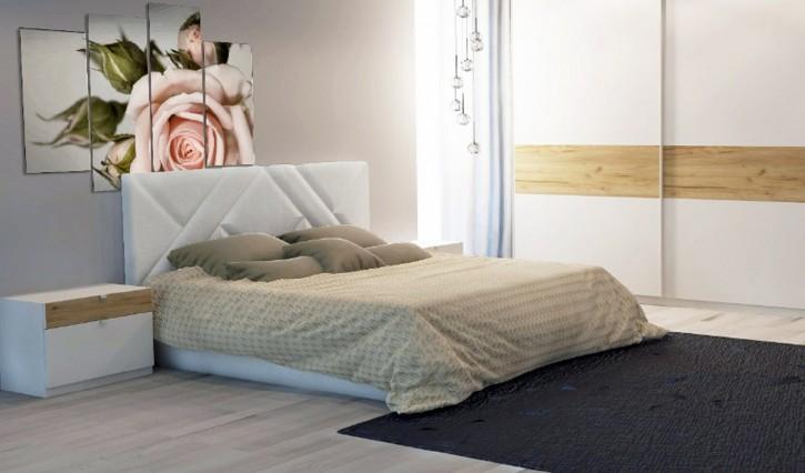 Bett Akiri 160x200 cm in Weiß Modern Design