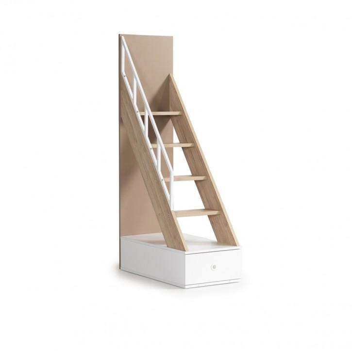 Alfa Etagenbett Treppe In Natur Braun / Weiss