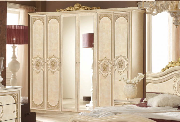 Kleiderschrank Alice 6 türig in Beige Gold Schlafzimmermöbel