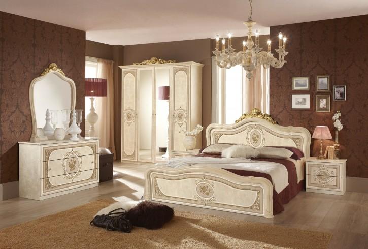 Schlafzimmer Alice 6 teilig in creme beige Barock ohne Polsterung