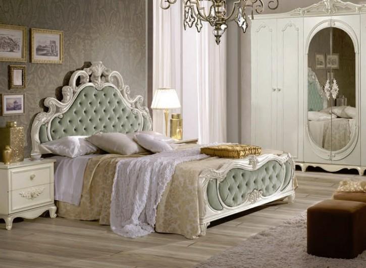 Bett Atene 160x200 cm  in Creme Vintage Grün Luxus Design