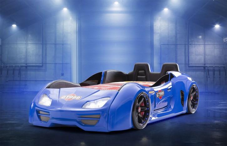 Autobett Turbo GT Extra in Blau mit Türen, Rückenlehne, Polsterung und LED Beleuchtung