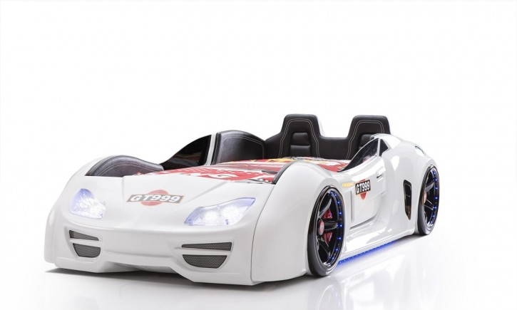 Autobett Turbo GT Extra in Weiß mit Türen, Rückenlehne, Polsterung und LED Beleuchtung