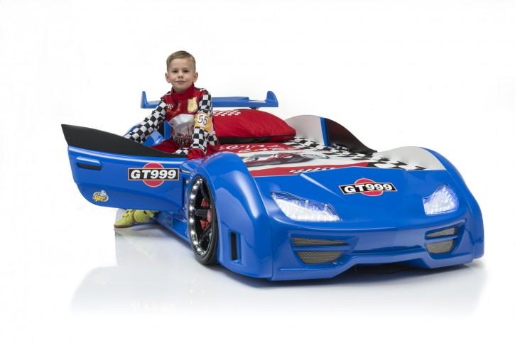 Autobett Turbo GT999 90x190cm in Blau mit Türen, LED Bleuchtung und Fernbedienung