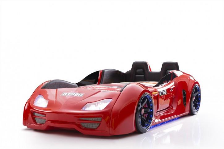 Autobett Turbo GT Extra in Rot mit Türen, Rückenlehne, Polsterung und LED Beleuchtung
