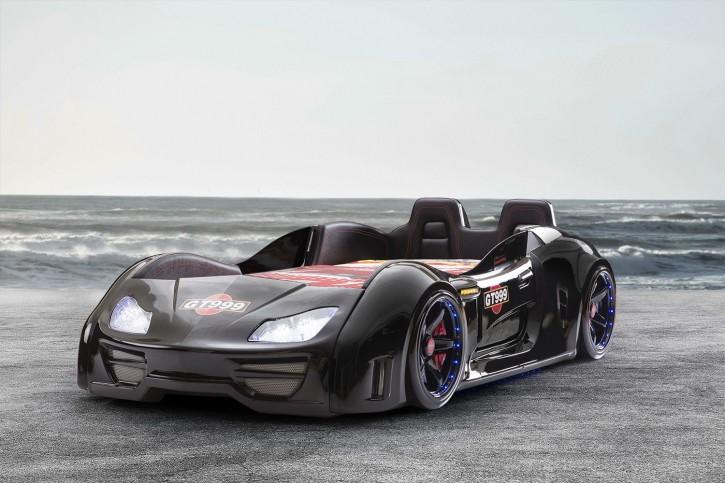 Autobett Turbo GT Extra in Schwarz mit Türen, Rückenlehne, Polsterung und LED Beleuchtung