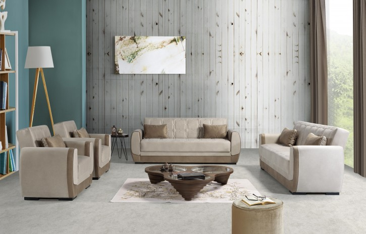 Sofa Couch Set Bade 3+2+1 in Beige mit Schlaffunktion