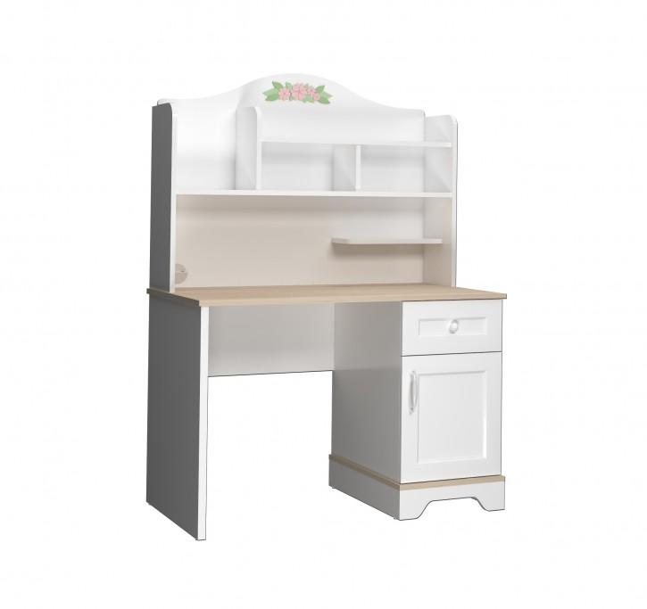 Schreibtisch Bianca mit Aufsatz in Weiß mit USB  Schreibtisch Bianca mit Aufsatz in Weiß mit USB