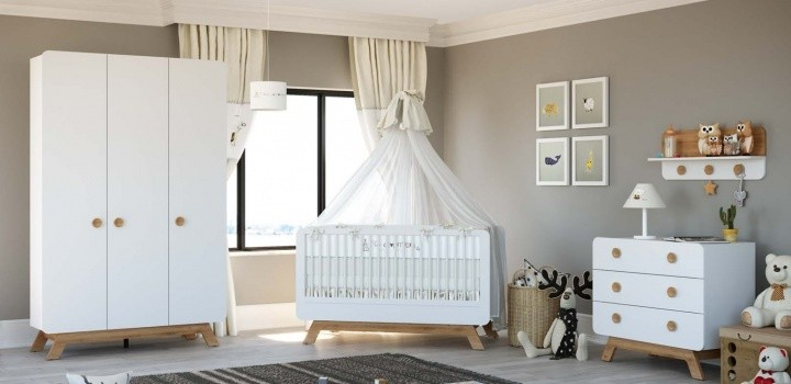 Babyzimmer Set Baby Cute 4-teilig weiss/oak