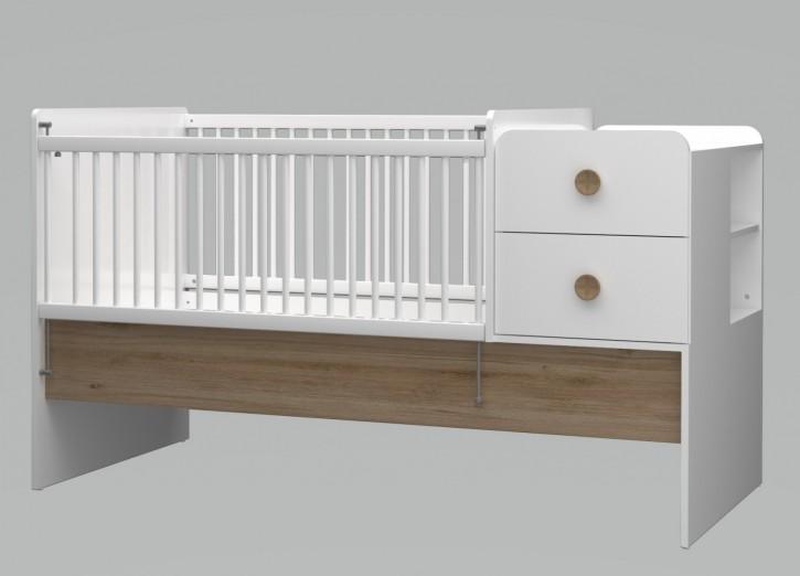 Babybett Baby Cute vergrößerbar 80x130-180 cm weiss/oak