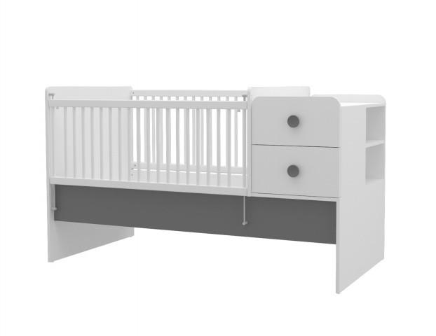 Babybett Baby Cute vergrößerbar 80x130-180 cm weiss/grau