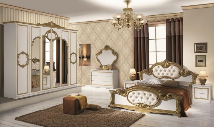 Schlafzimmer Set Barocco 7 teilig in Weiß Gold