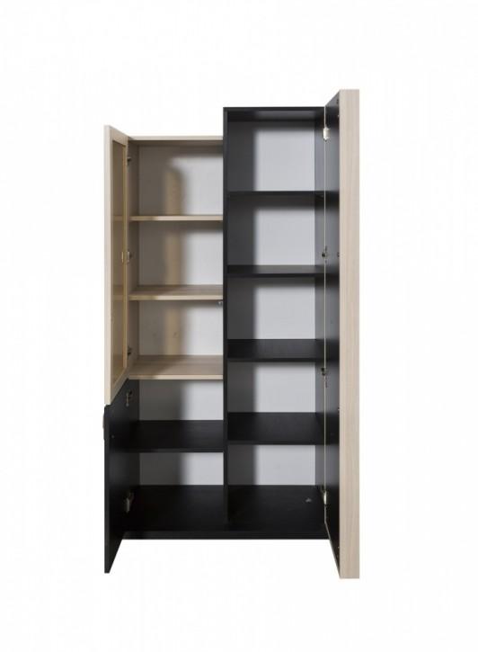 Bücherregal Lotus in Schwarz mit Türen