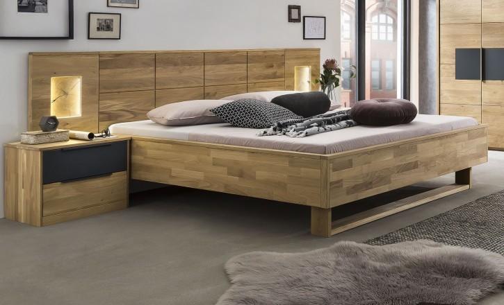 Bett 180x200cm Alena in Eiche/Schwarz